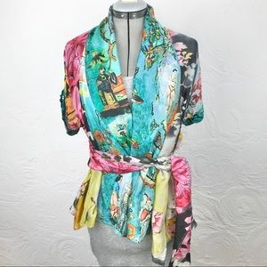 Etro Italy 100% silk colorful Asian print blouse